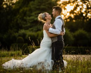 Bride and groom at Hengrave Hall
